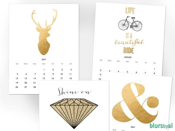 Instant download. Digital printable calendar for 2015 : GOLDEN YEAR This calendar is made using popular designs from my shop, all of them in gold glitter or faux gold foil, black and charcoal for an elegant look. (No gold ink needed this prints just like a photography of foil or glitter) Includes one cover (Happy New Year 2015) and 12 different designs (one for each month). Size: Letter size - 8,5x11""