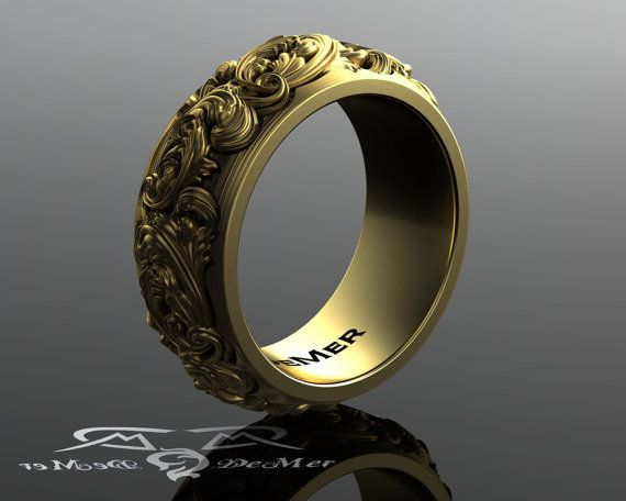 Heavy sculpted scroll work 10mm wide engraved wedding band in solid 14kt gold. Steampunk wedding ring style with Victorian floral damask.