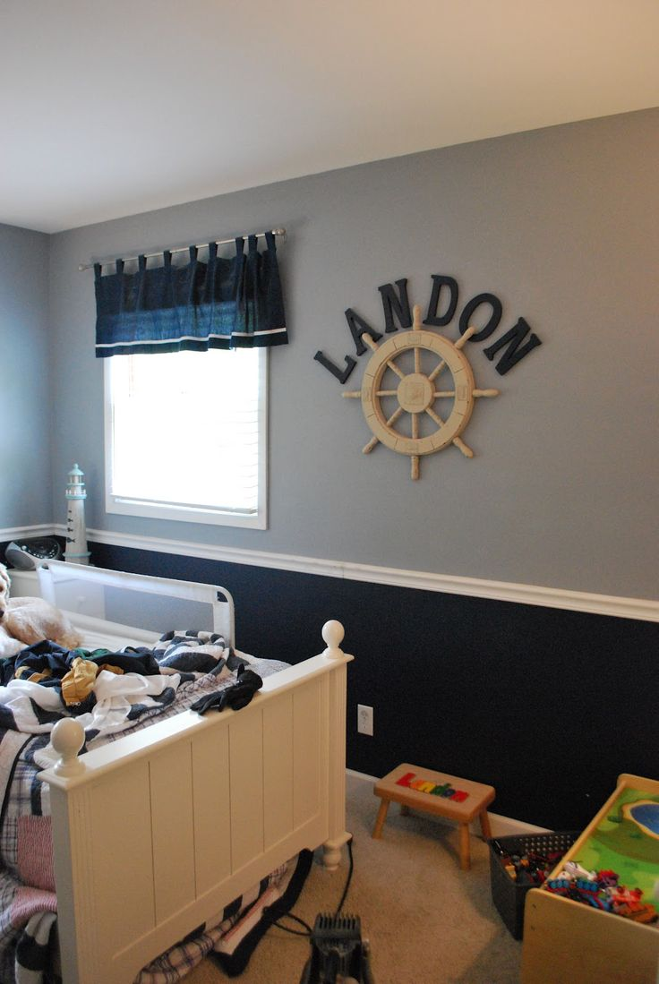 I live the name above the ship wheel, but I would probably use a car  Boys  Bedroom PaintBoys Nautical BedroomPaint Colors ...