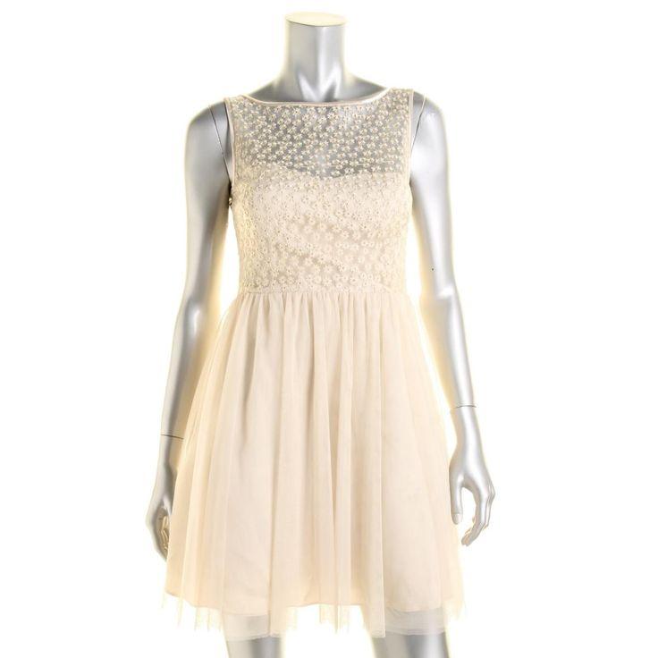 Aqua Womens Mesh Metallic Cocktail Dress