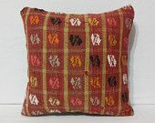 colorful tapestry modern turkish pillow cover large throw pillow decorative kilim pillow cover bohemian throw pillow midcentury pattern red