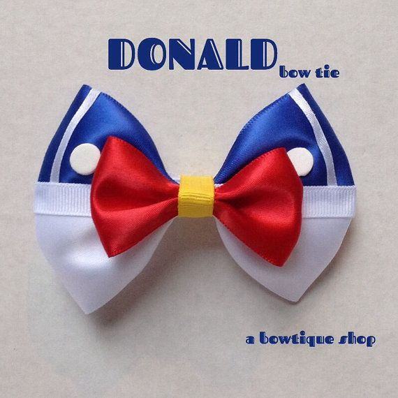 Up for your consideration is a custom made Donald clip on bow tie. The bow tie measures 4 1/4 inches wide and 3 inches tall. Heres a youtube video