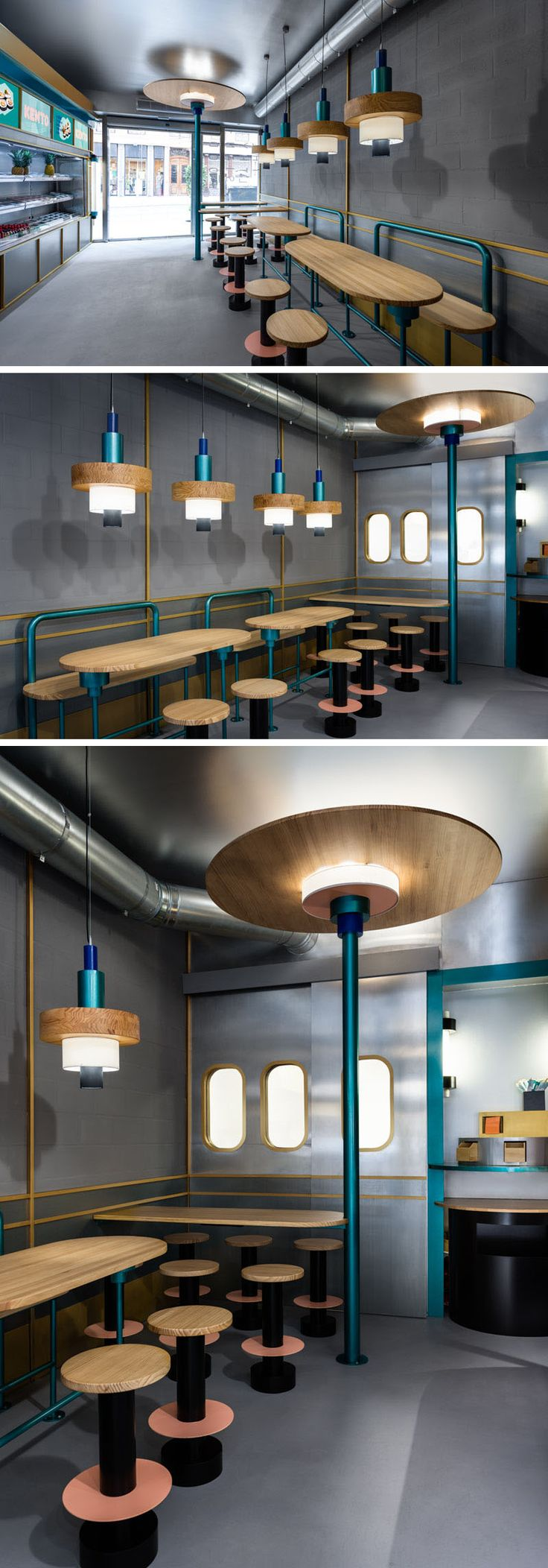 Design firm Masquespacio, has recently completed Kento, a takeaway sushi restaurant in Valencia, Spain. #ModernRestaurant #SushiRestaurant #RestaurantDesign