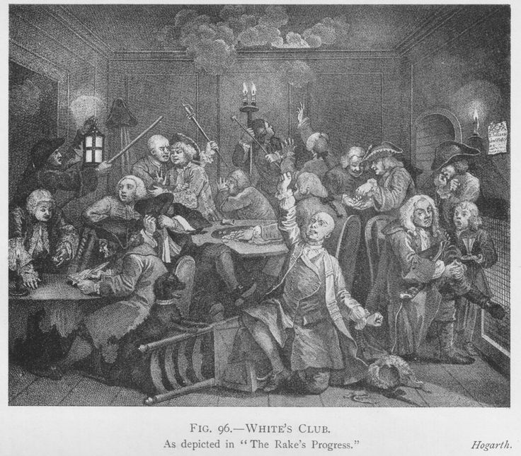 White's Club, as depicted in The Rake's Progress. Hogarth