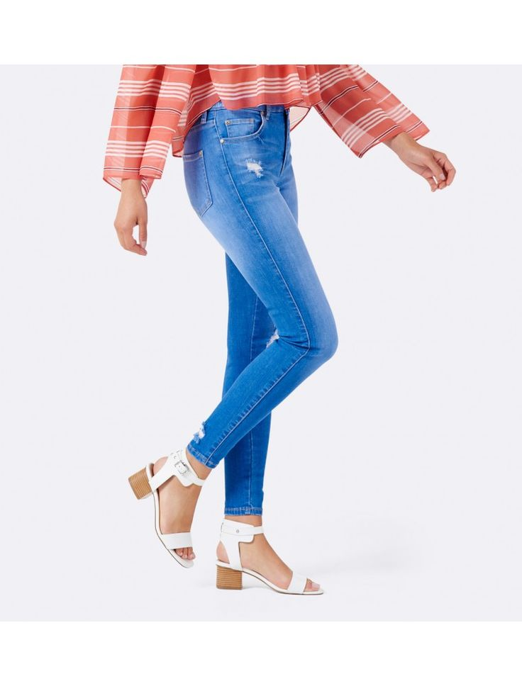 Poppy Mid Rise Ankle Grazer Jean Bright Indigo Distress - Womens Fashion | Forever New