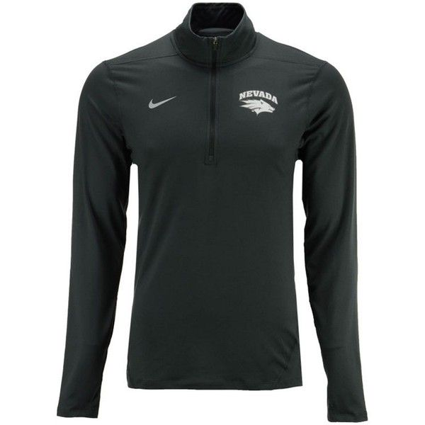 Nike Men's Nevada Wolf Pack Heather Dri-fit Element Quarter-Zip... (575 NOK) ❤ liked on Polyvore featuring men's fashion, men's clothing, men's activewear, men's activewear tops, anthracite, mens quarter zip pullover, mens pullover and men's 1 4 zip pullover