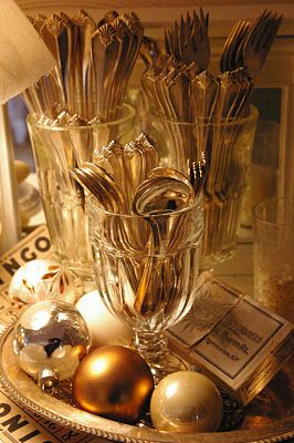 Like the crystal for the silverware on a decorated tray - great for a buffet!