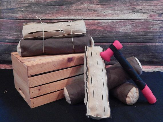 Felt Firewood and Axe  Imagination toy and by MorgansMercantile