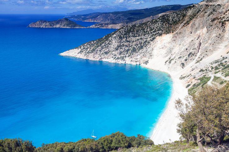 Secluded beach on Myrtos, Greece.