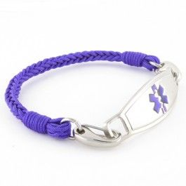 The Grape braided medical ID bracelets are hand woven using a purple colored thin nylon thread. Grape braided medical ID bracelet by N-Style ID
