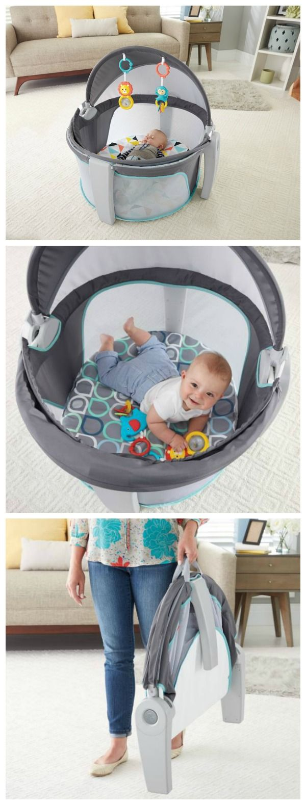 2 functions in 1 – a play space and a comfy napping spot, perfect for when you and baby are on the go! #affiliate