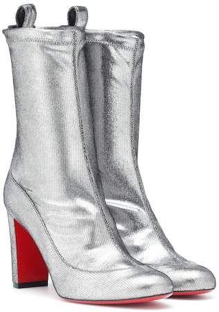 885d378f2 Christian Louboutin Gena 85 metallic leather boots - Silver metallic heeled  booties