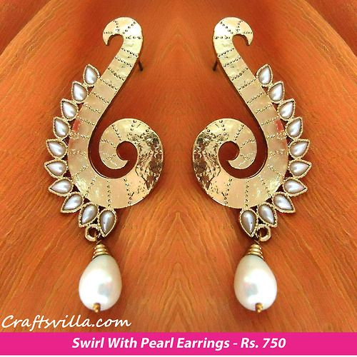 IT'S PG'LICIOUS — craftsvillaindia: Swirl With Pearl Earrings by...