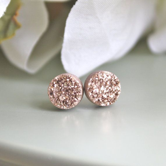 Rose Gold Druzy Earrings, Drusy Earrings, Drusy Post Earrings, Bridesmaids Gift, Bridesmaid Earrings, Valentines day gift
