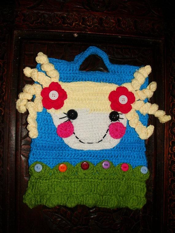 LaLaLoopsy Girls Winter Fall Crochet Purse Ipad Bag Treat Bag Toy Tote Crochet by HandpickedHandmade on Etsy, $19.00