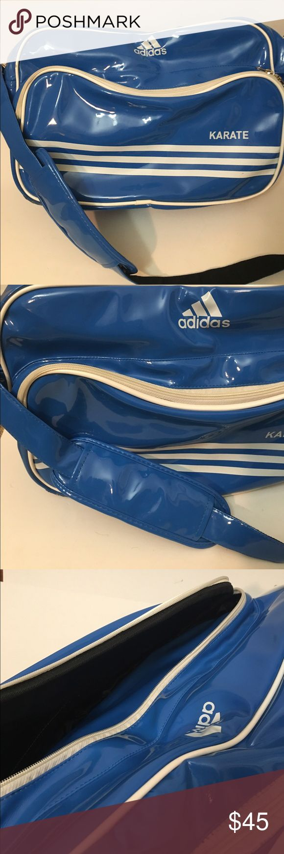 ADIDAS Sports Karate Equipment Blue Bag Tote This is in excellent condition. Awesome blue shiny finish. Great for hauling your gear around. This scones from a smoke free home. I would be happy to answer any questions. Adidas Bags
