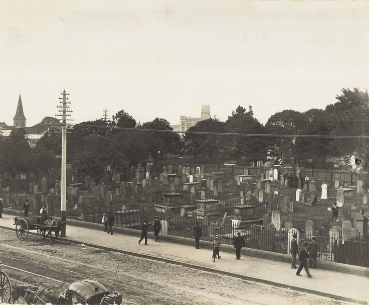 Devonshire Street Cemetery, 1902. Also known as Sandhills Cemetery. All these graves had to be relocated to allow for the expansion of the Sydney Railway Station.