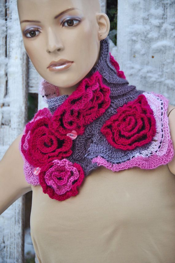 Crochet  Scarf  Roses- Capelet / Neck Warmer / Freeform crochet PInk,White, Grey Womens scarf, Freeform Crochet scarf/gift