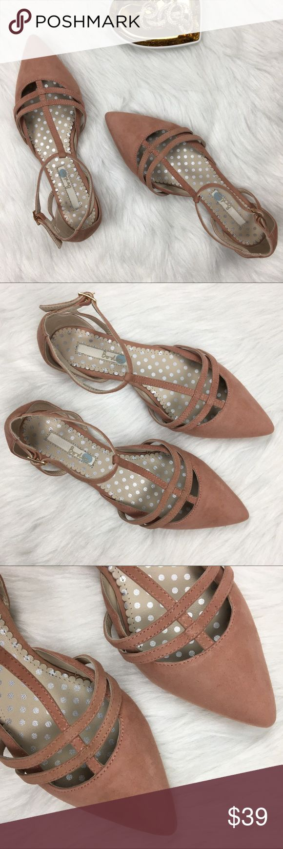 Boden | blush suede pointed toe flats Boden blush suede T-strap pointed toe flats. Excellent condition with very minor imperfections (very small area on one of the straps, small blemishes). Size 36 Boden Shoes Flats & Loafers