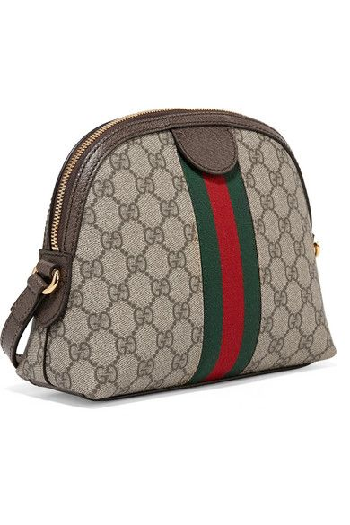 00a7a45770b Gucci Ophidia Textured Leather-trimmed Printed Coated-canvas ...