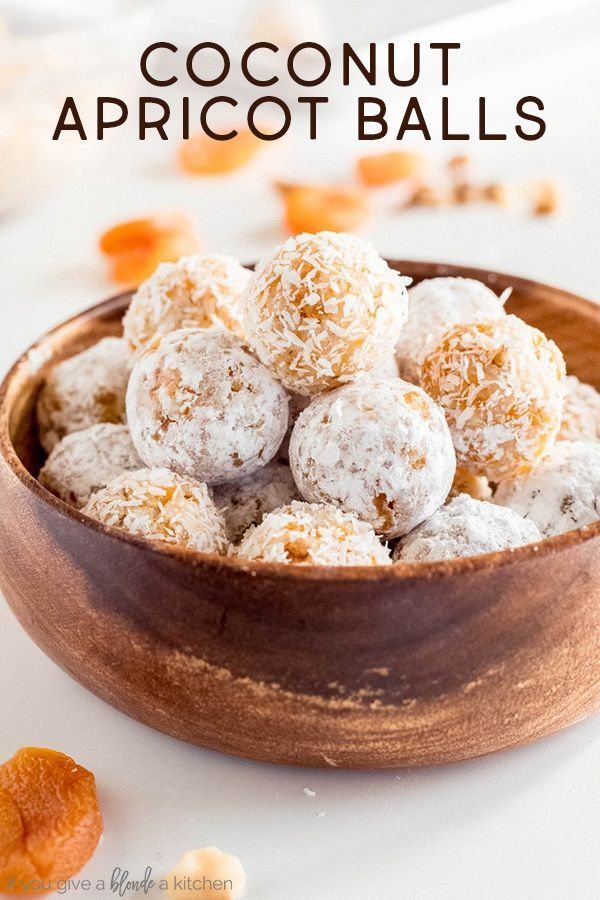 Coconut Apricot Balls If You Give A Blonde A Kitchen In 2020 Apricot Recipes Dried Apricot Recipes Baked Dessert Recipes