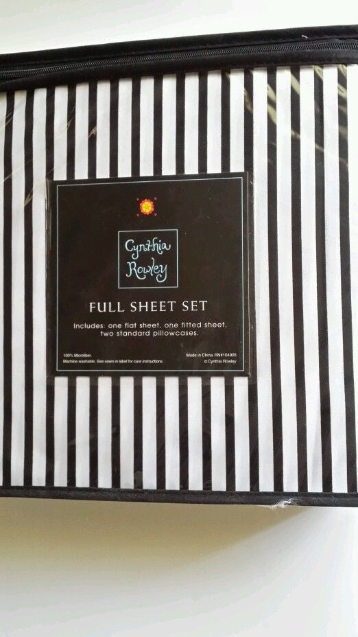 cynthia rowley stripes black white 4 pc full sheets set - Striped Sheets