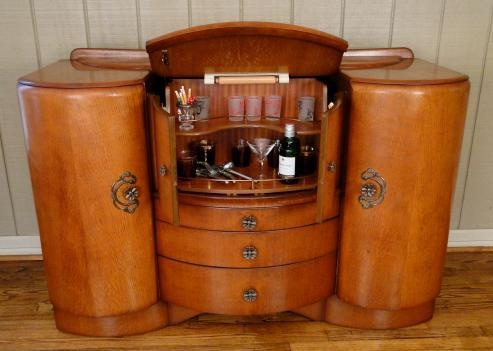 antique pop open art deco bar wine liquor drinks cabinet. Black Bedroom Furniture Sets. Home Design Ideas