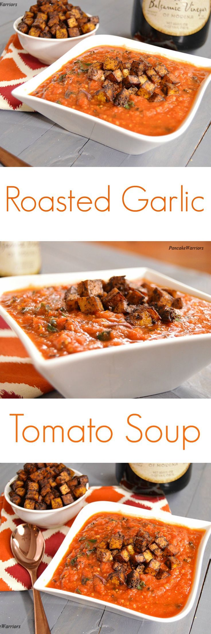 Homemade Roasted Garlic Tomato Soup - simple easy recipe perfect for dinner! Vegan, gluten free, low fat.