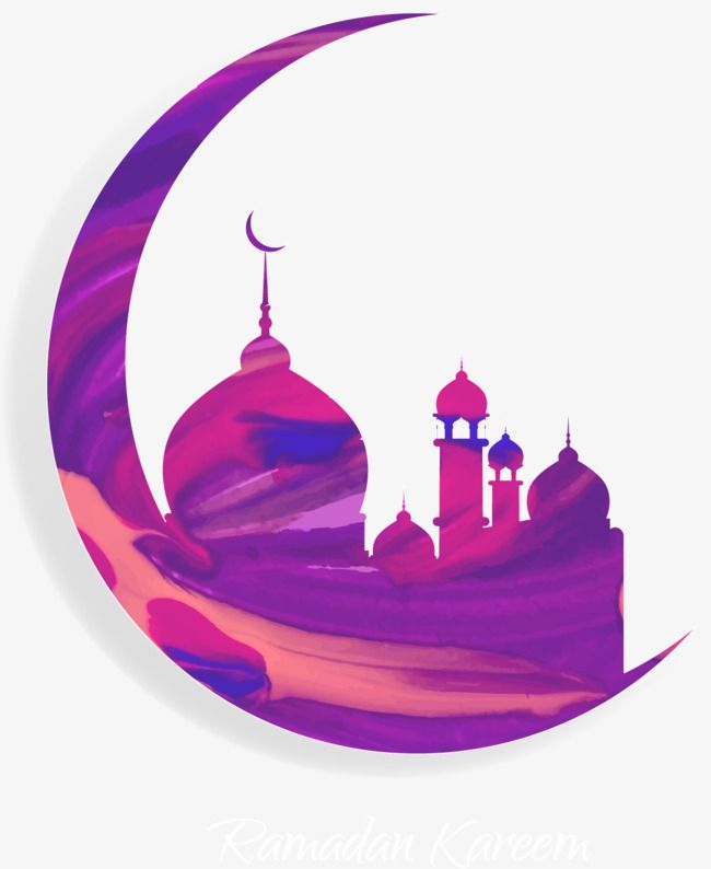 Vector painted purple moon and Islam Mosque