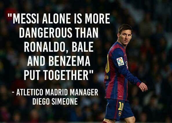 Lionel Messi sam jest bardziej niebezpieczny niż Ronaldo, Bale i Benzema razem • Diego Simeone o Lionelu Messim • Wejdź i zobacz >> #messi #lionelmessi #quotes #football #soccer #sports #pilkanozna