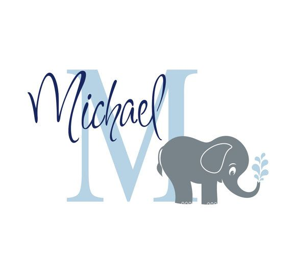 Elephant Monogram Name Vinyl Wall Decal,  Nursery Wall Decor -  Children Wall Decals - Boys Custom sticker - Personalized Name