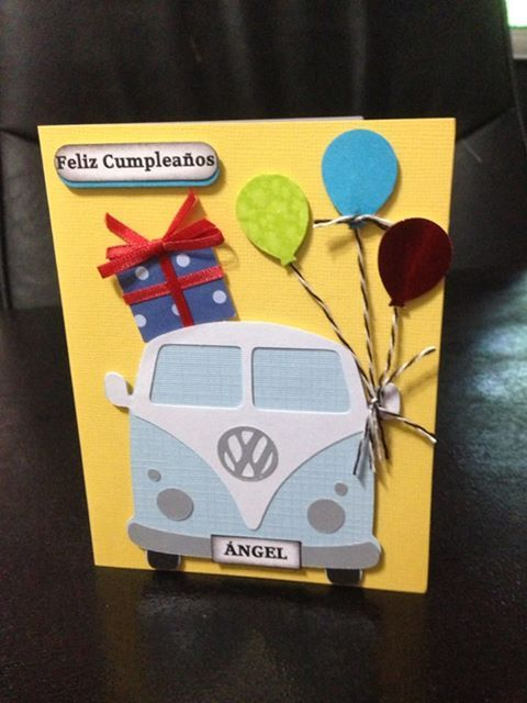 Birthday Card using - Designer Cuts : svg file - VW BUS (by Alissa Mortensen and balloon punch