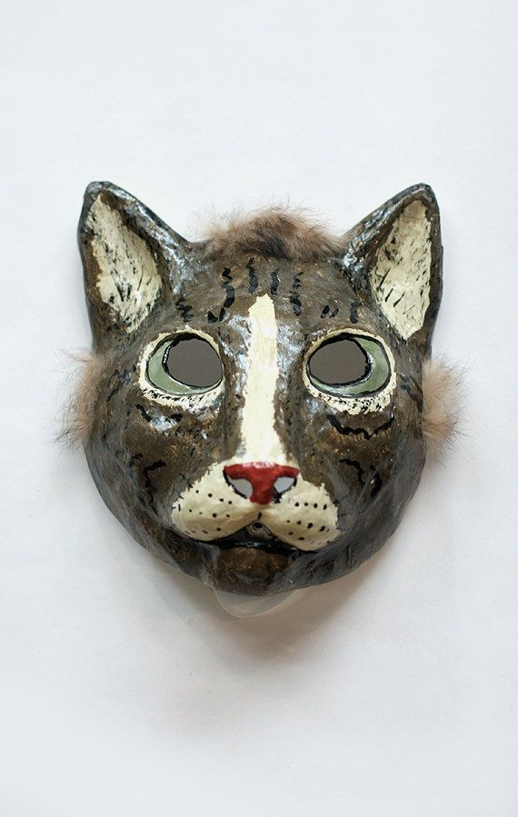 Paper Mache Cat Mask, made by Yevgeniya Kilupe.