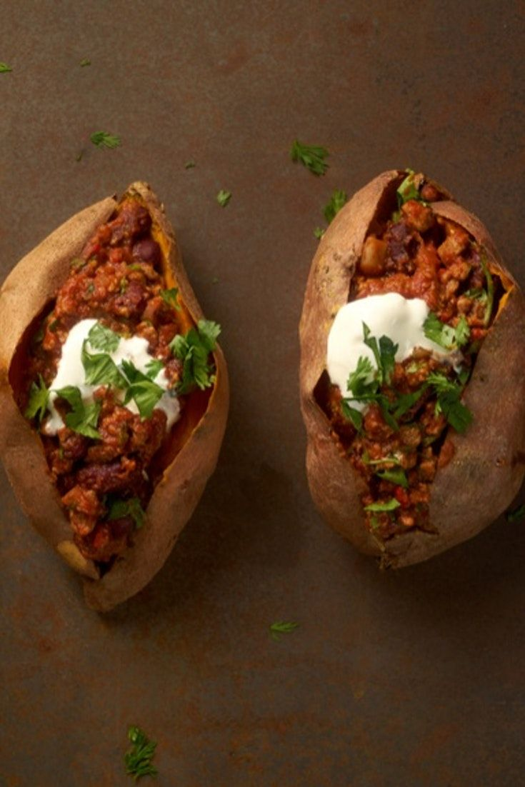 Sweet potato jackets topped with Quorn chilli