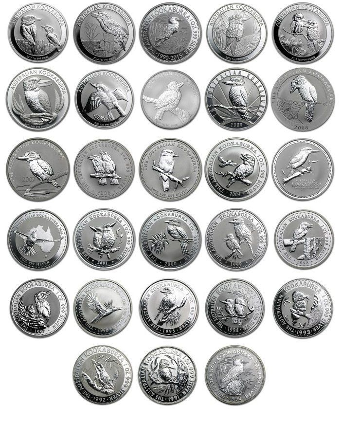 1990 2017 1 Oz Silver Kookaburra Set 28 Coin Set In 2020 Coins Coin Set Silver Investing
