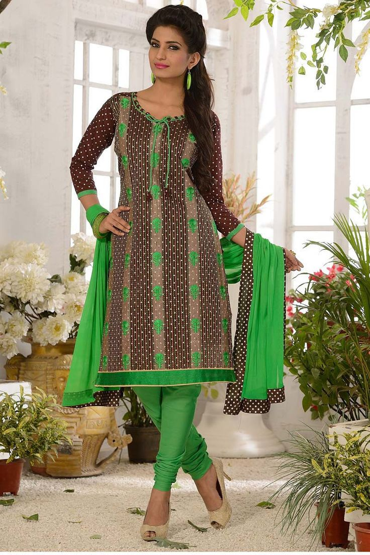 Brown Chanderi Churidar Suit