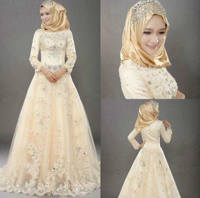 Contoh Gaun Pengantin Muslimah Simple Tapi Elegan Gaun Pengantin Brokat Gaun Perkawinan Gaun Rok Lebar