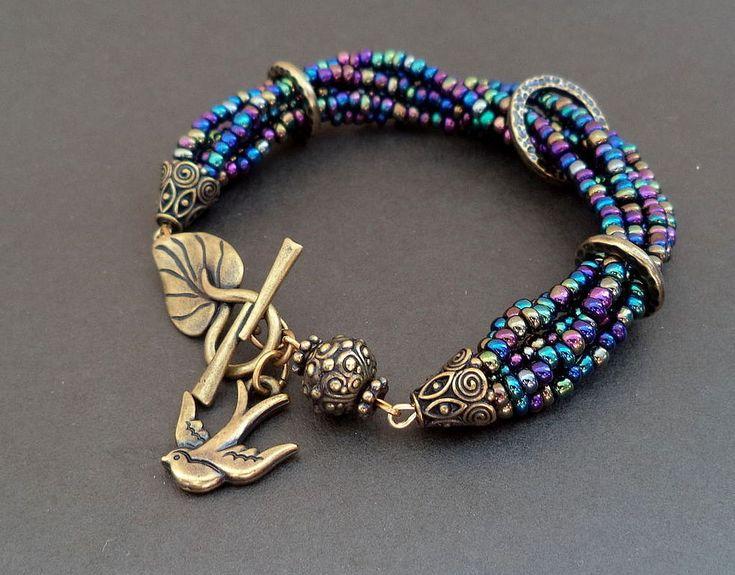 Купить Браслет Swallow - браслет, браслет из бисера, стильный браслет, латунь…