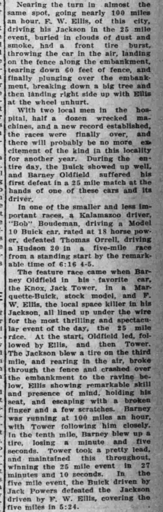 September 1910 - Part Two.  From a Newspaper Article - Motorcycle Racing in Kalamazoo, Michigan.  Barney Oldfield.