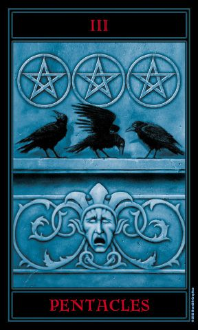 Three of Pentacles: Tarot card meaning for  Future:  Your inner satisfaction demands a pursuit of excellence and a mastery of your craft.  Source: The Gothic Tarot by Joseph Vargo