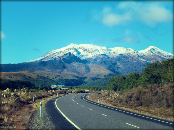 First glimpse: approaching the Chateau Tongariro. Photo: Su Leslie, 2014