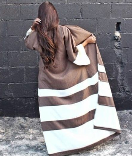Stripes | Brown & White #abaya