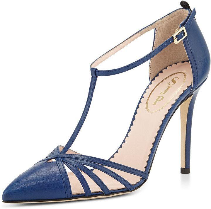 Sarah Jessica Parker SJP by Carrie Leather T-Strap Pump, Blue on shopstyle.com