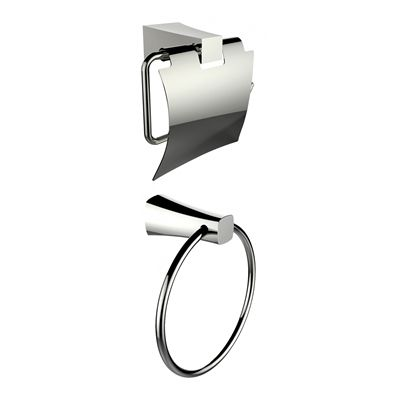 American Imaginations AI-13324 Chrome Plated Towel Ring with Toilet Paper Holder Accessory Set