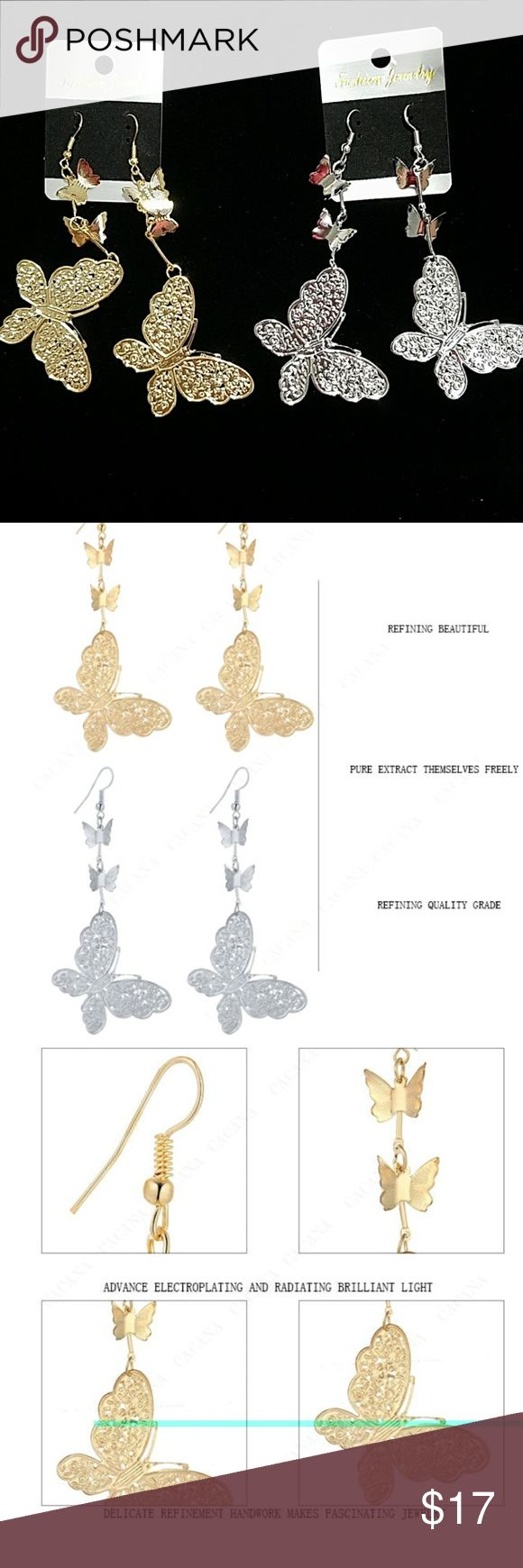 ANY 4 PAIRS FOR $15! DANGLING BUTTERFLY EARRINGS!! Design consists of butterflies. Earrings are not heavy so they won't make you feel weighted down & no worries about stretching out your earlobes! Earrings are thin, lightweight Alloy metal. They are priced great! Bundle & save on shipping! Choose Gold or Silver in Options. Once you add 4 pairs to your bundle, submit offer for $15 & it will be accepted! Gold stock# 121 Silver Stock # 221 Jewelry Earrings