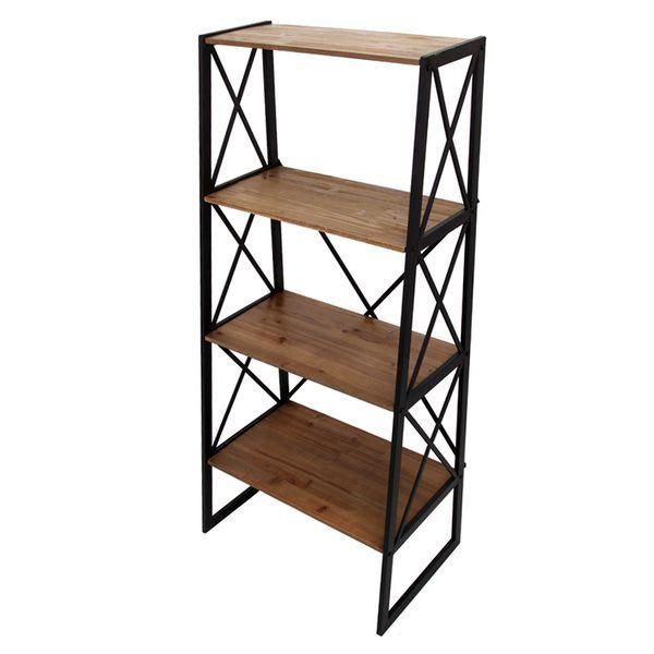 Estanteria baja forja y madera handan http www for Estanteria auxiliar cocina