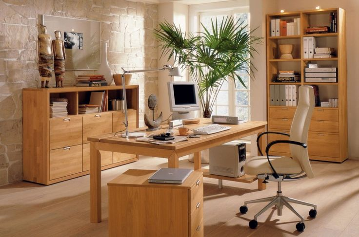 Furniture. Dream Home Office Designs with Cool Furniture Set. Light Natural Wood Accented Home Office Furniture Ideas features…