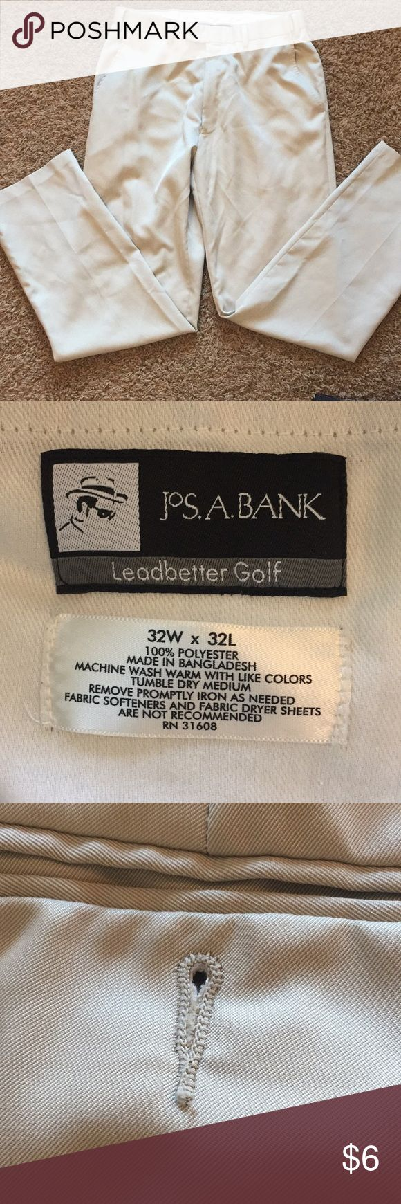 Men's 32Wx32L pants Light tan colored Jos. A. Bank Leadbetter Golf pants. In great shape except missing one back pocket button (see pics). Smoke- and pet-free home. 32W x 32L. Jos. A. Bank Pants Chinos & Khakis