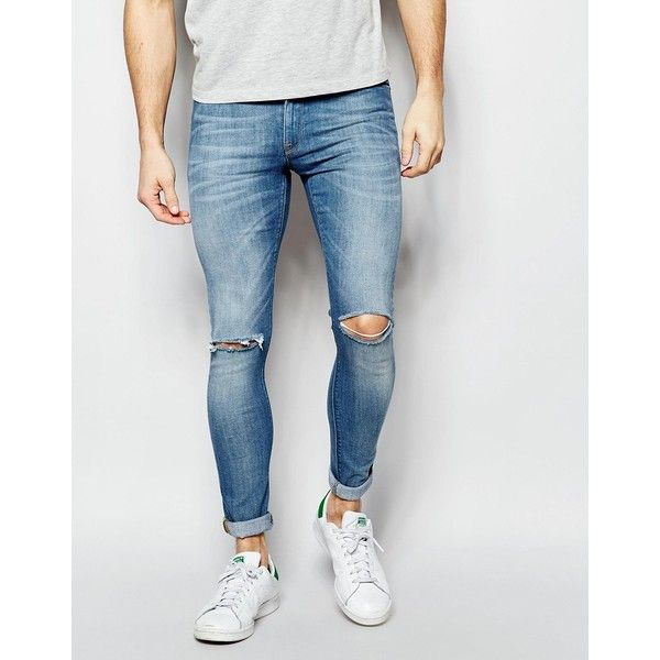 ASOS Extreme Super Skinny Jeans With Rips (€49) ❤ liked on Polyvore featuring men's fashion, men's clothing, men's jeans, blue, mens skinny jeans, mens blue skinny jeans, mens destroyed jeans, mens ripped jeans and mens skinny fit jeans