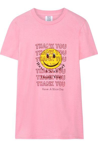 Rosie Assoulin - Thank You Swarovski Crystal-embellished Printed Cotton-jersey T-shirt - Pink - x large